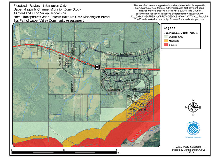 A map of the Upper Nisqually River with low, moderate, and sever zones shown from a completed CMZ study.