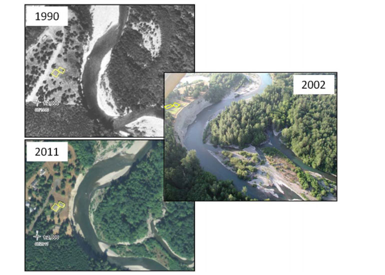 Three satellite images of the Elwha River in 1990, 2002, and 2011 showing river channel migration