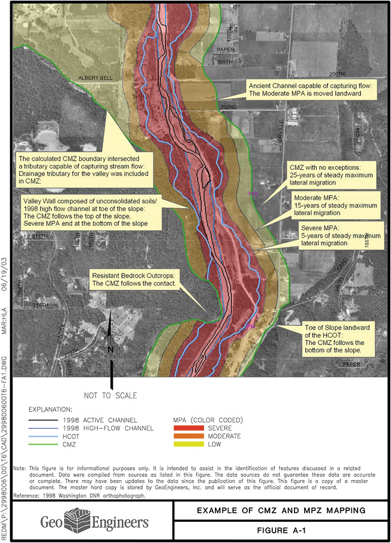 Example map from a completed CMZ study from the Puyallup, Carbon, and Lower White River. Completed study map shows various zones of river migration.
